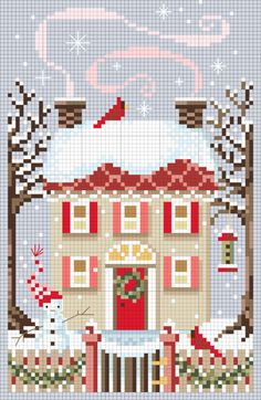 Christmas cross stitch ~ free pattern! This is a cute cross stitch. Some of them are kinda weird looking. Free Pattern, Christmas Patterns, Crossstitch, Christma Cross, Cross Stitch Charts, Cross Stitch Patterns, Cross Stitches, Christmas Houses, Winter House