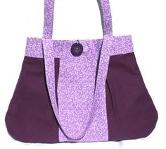 Cotton Twill Shoulder Bag - Purple and Plum