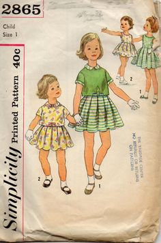 Simplicity 3497 1950s  Pattern Toddlers Sleeveless Dress and Overblouse girls vintage sewing pattern by mbchills