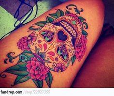 tattoo ideas, thigh tattoos, candy skulls, candies, a tattoo, flowers, sleeves, bright colors, sugar skull tattoos