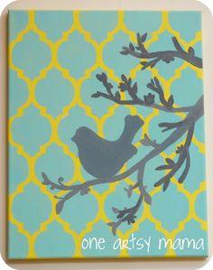 cool stenciled canvas! #stencils #cuttingedgestencils #casablanca http://www.cuttingedgestencils.com/allover-stencils.html#reviews