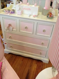 Pink and white girls dresser with crystal knobs