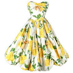 Vintage 1950's Yellow Roses Bubble Hem Cocktail Dress | From a collection of rare vintage evening dresses at http://www.1stdibs.com/fashion/clothing/evening-dresses/