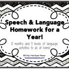 Homework focusing on language skills for September-June.   This download includes 37 weeks worth of activities for practice at home (4 weeks of hom...