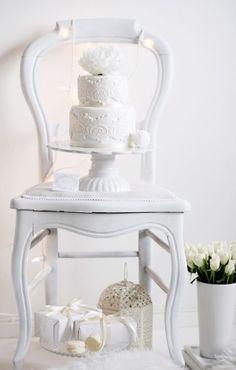 white winter dessert table