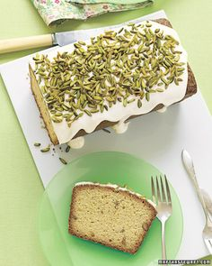 Pistachio Pound Cake with Icing. Always ready to eat. Lovely for tea time.