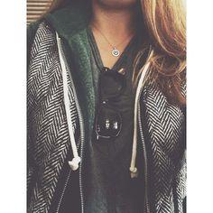 Gray V-neck tee + hunter green hoodie + J. Crew herringbone vest