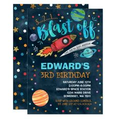 Outer Space Party Invitation - #birthday #birthdayparty #birthdayinvite #kidsbirthday #kidsparty #kidsbirthdayinvite #affiliate #spaceparty #spacebirthday #spaceinvite
