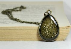 Real Flower Drop Pendant Resin Flower Necklace by #PauwowHandmade $22.90