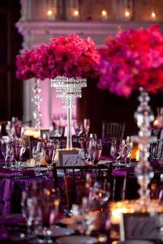 Purple and Magenta color schemes, wedding ideas, colors, chandeliers, violet, bubbles, ballrooms, magenta and purple wedding, design