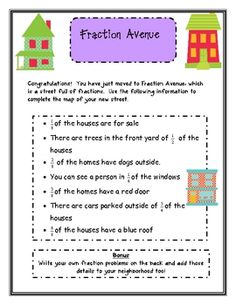 Here's a fraction activity where students design a street using different fractions. Covers part of a set and equivalent fraction ideas.
