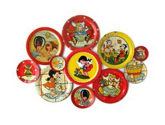 Vintage Toy Tin Saucer Collection - Set of 11 Tin Tea Set Pieces.
