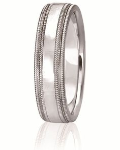 Dual Row of Milgrain Boarder The Edge And Center Of This Classic Comfort Fit Wedding Band. Available For Men & Women In Widths From 3-8MM With Various Finishes In Your Choice Of 14K & 18K White, Yellow & Rose Gold, Platinum & Palladium