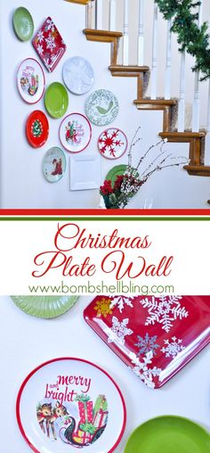 Christmas plate wall!  She tells us where she got each plate so it's easy to recreate!