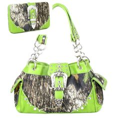 Handbags, Bling & More! Western Green Camouflage Buckle Rhinestone Purse W Matching Wallet : Camouflage Purse Sets On Sale: $55.11 FREE SHIPPING!