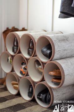 PVC pipe shoe organizer birch logs