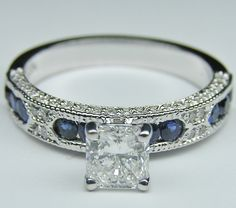 Radiant Cut Diamond Vintage Engagement Ring Blue-Sapphire Accents