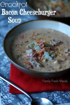 Crockpot Bacon Cheeseburger Soup - FamilyFreshMeals.com