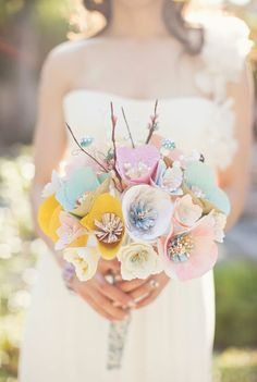 sweetness bridal bouquets, wedding bouquets, flower bouquets, wedding flowers, paper flowers, colorful weddings, handmade flowers, diy wedding, wedding papers