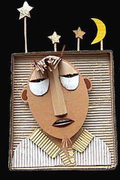 Cardboard collage self portraits, leonor barbara, kids pizza collage, sculptur, cardboard collag, bruno, cardboard portrait