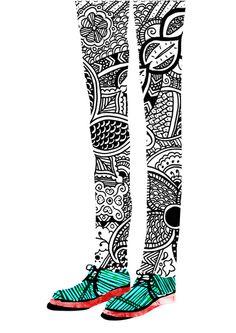 :) Danny Ivan green shoes, pattern, collage art, art prints, collag shoesleg, printmak project, illustration art, danni ivan, paint leg