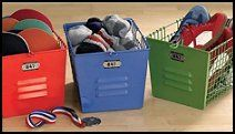 Locker baskets add a sporting look to any kid's room.