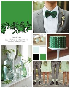 Emerald and Mint Wedding Inspiration Board by papersnaps.com