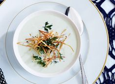 Table for Two | Recipe : Leek Soup with Shoestring Potatoes & Fried Herbs