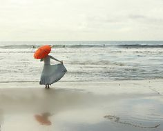 Fine Art Photography Girl with Red Umbrella Photo Midcentury Red Parasol by Lucy Snowe Photography