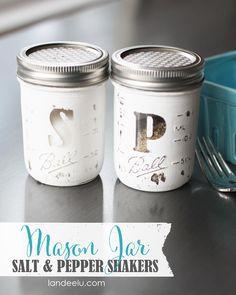 DIY Mason Jar Salt and Pepper Shakers -cute!