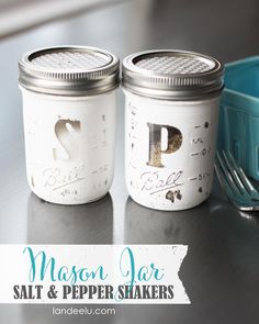 DIY Mason Jar Salt and Pepper Shakers {landeelu.com}
