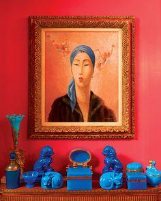 Gloria Vanderbilt's home ~ Magnificent  Blue French Opaline Glass