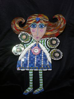 Mosaic Fairy Girl with a Heart/ Flower by WishflowerStudio on Etsy, $225.00