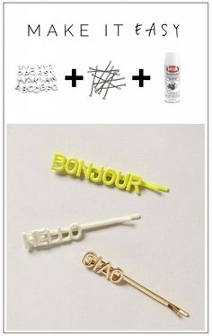DIY Word Hair Pins Tutorial
