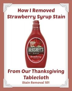 Oh yes, this actually happened to me. My daughter spilled strawberry milk all over the ivory tablecloth and I got it all out! {on Stain Removal 101}