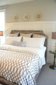 Soothing bedroom with white, tall paneling, cream and taupes, beautiful wall decor. wall colors, headboard, bed frames, color schemes, guest bedrooms, duvet covers, master bedrooms, guest rooms, design