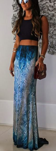 Really cool blue maxi skirt