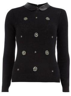 pu collar, embellish jumper, style, embellish sweater, black embellish, jumpers
