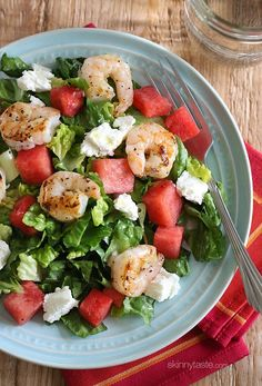 Grilled Shrimp and Watermelon Chopped Salad made with a golden balsamic vinaigrette – light and delicious, I'll be making this salad all summer! | Skinnytaste