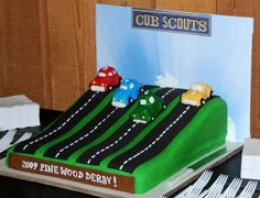 car cakes, boy scout, cub scouts, cubscout, cake idea