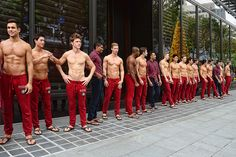 Male models at Abercrombie & Fitch, Singapore