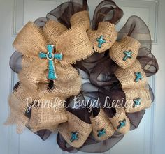 Rustic and western turquoise and brown mesh wreath by Jennifer Boyd Designs.     Find me on Facebook: www.facebook.com/...