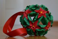 http://artekusudama.blogspot.com.es/ How to make a beautiful kusudama christmas flowers Kusudama flor de pascua o flor de navidad