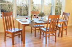 Modern Mission Dining Chairs and Woodland Custom Cherry Dining Table. Dining Room Decor.