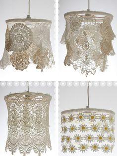 crochet doily chandeliers.