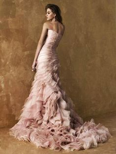 wedding dressses, pink wedding dresses, pink weddings, dusty pink, blush pink, ruffled tulle wedding dress, gown, ruffl pink, pink dress