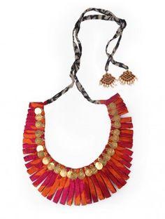 Fuschia-Orange Organic Silk Necklace