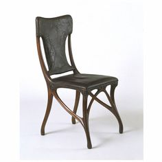 Eugene Gaillard - Side Chair with Leather Seat and Back. Circa 1900.