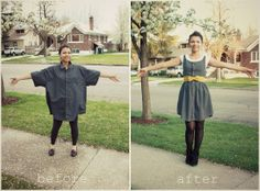 Refashion a mens button up shirt into a sweet little summer dress. fun-things-to-make-time-for