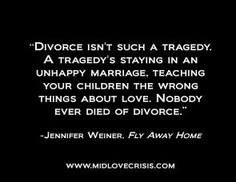 Definitely not condoning divorce --- but definitely do not believe you should stay in a marriage just for the kids, or if only one of you is willing to work on problems. I'd rather my children see me happy & in love with a man that loves & respects me rather than stay in a marriage with a man who never respected our marriage vows.